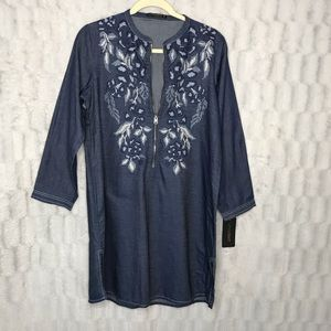 NWT Lime Light Embroidered Chambray Tunic Top